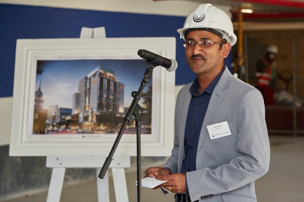 General Manager Chandresh Singh addressing guests at the hard hat event